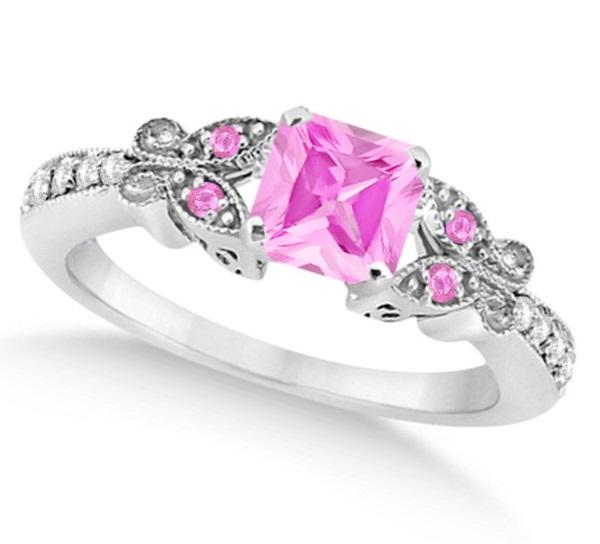 Butterfly Pink Sapphire & Diamond Princess Ring 14K White Gold 1.33ct