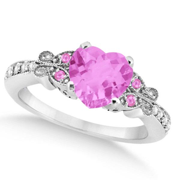 Butterfly Pink Sapphire & Diamond Heart Engagement 14k W Gold 1.73ct