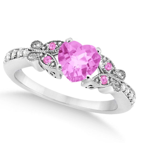 Butterfly Pink Sapphire & Diamond Heart Bridal Set 14k W Gold 1.55ct