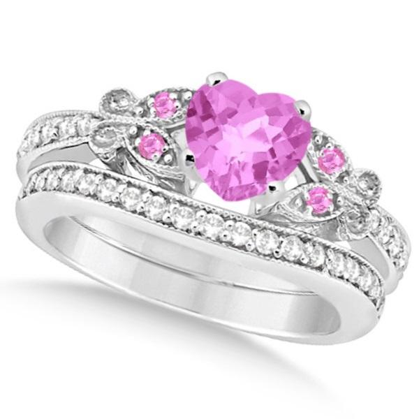 Butterfly Pink Sapphire & Diamond Heart Bridal Set 14k W Gold 1.95ct