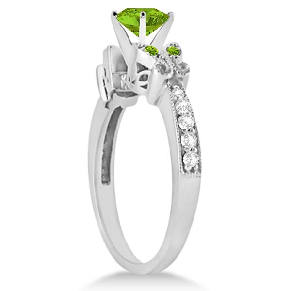 Butterfly Peridot & Diamond Engagement Ring 14K White Gold 0.71ctw