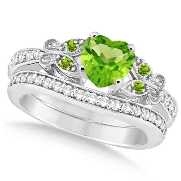 Butterfly Genuine Peridot & Diamond Heart Bridal Set 14k W Gold 1.93ct