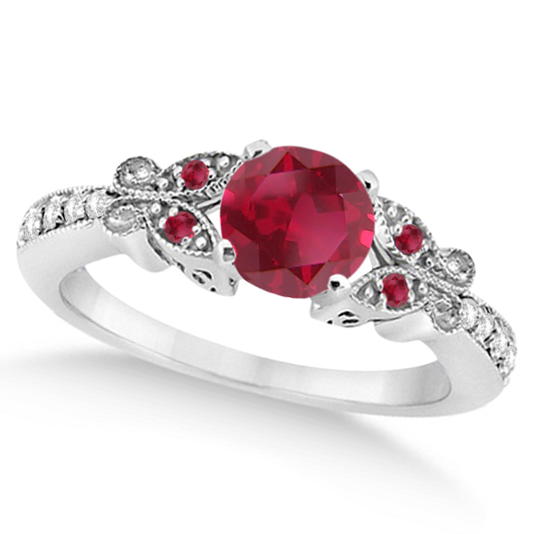 Butterfly Genuine Ruby & Diamond Bridal Set 14k White Gold 1.08ctw