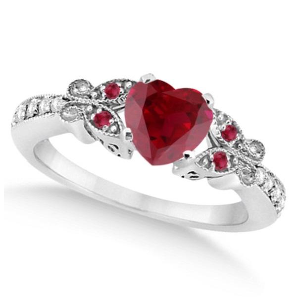 Butterfly Genuine Ruby & Diamond Heart Bridal Set 14k W. Gold 1.53ct