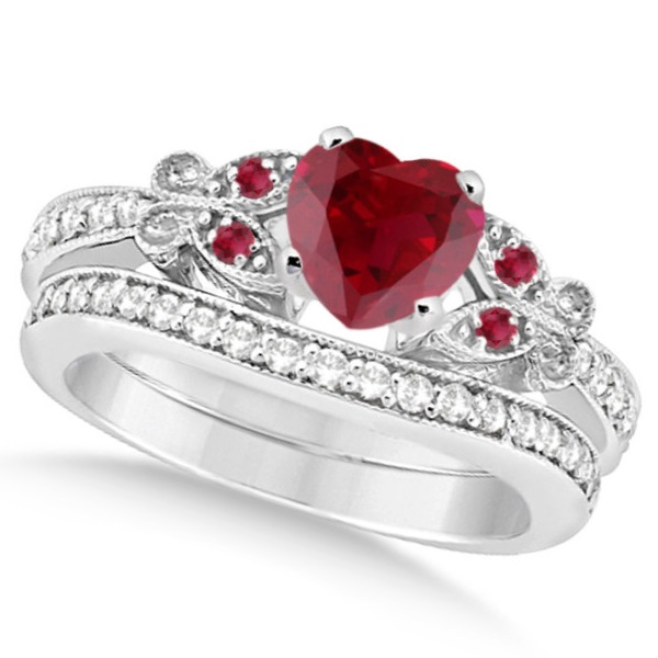 Butterfly Genuine Ruby & Diamond Heart Bridal Set 14k W. Gold 2.68ct
