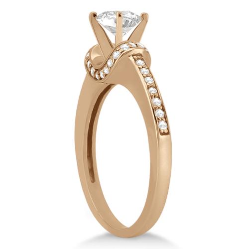 Petite Diamond Engagement Ring Ribbon Design 14k Rose Gold (0.25ct)