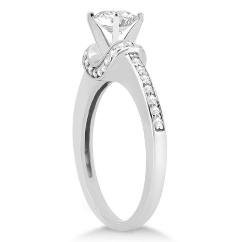 Petite Diamond Engagement Ring Ribbon Design 14k White Gold (0.25ct)