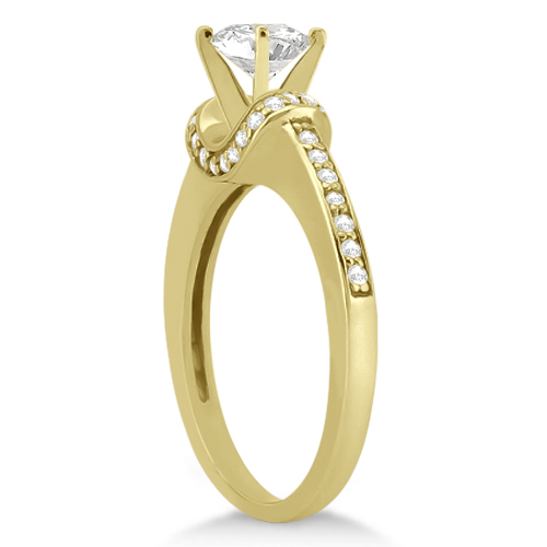 Petite Diamond Engagement Ring Ribbon Design 14k Yellow Gold (0.25ct)