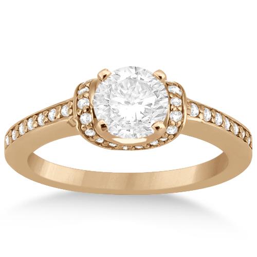 Ribbon Style Diamond Bridal Set Ring & Band 18k Rose Gold (0.40ct)