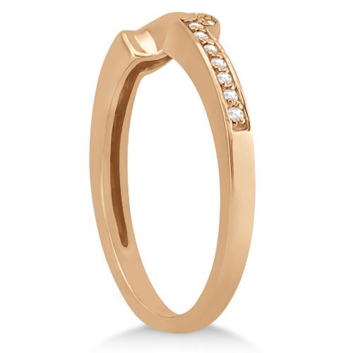 Contour Diamond Wedding Band Ribbon Ring 14k Rose Gold (0.15ct)