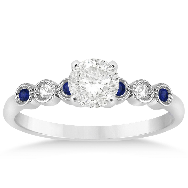 d917f14d1eaf15 Blue Sapphire & Diamond Bezel Set Engagement Ring 14k White Gold 0.09ct -  U9197