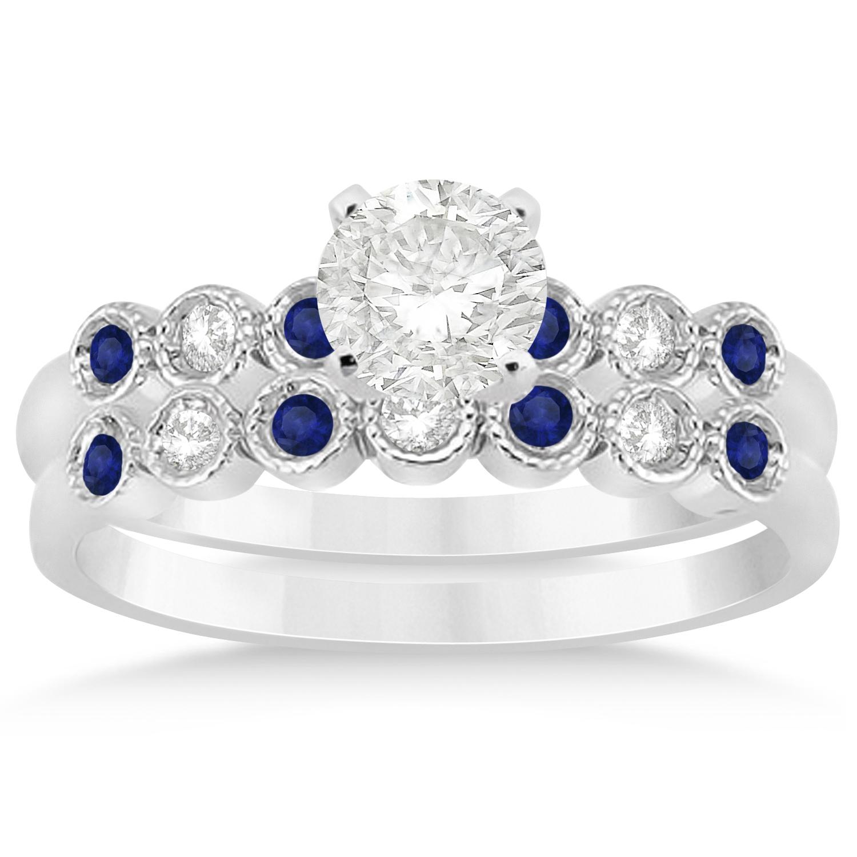 Blue Sapphire Diamond Bezel Set Bridal Set Palladium