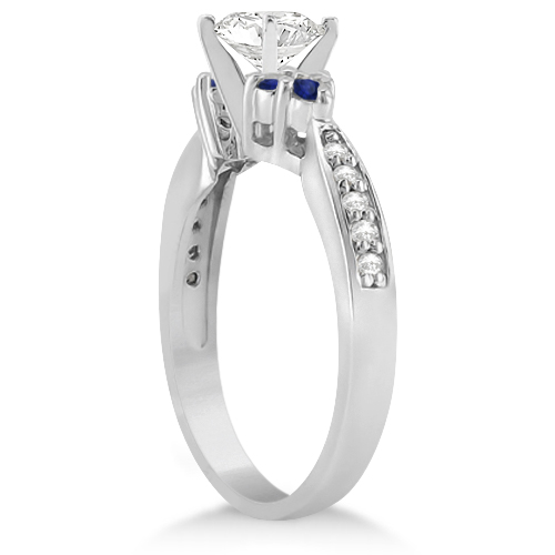Floral Diamond & Blue Sapphire Engagement Ring Palladium (0.80ct)