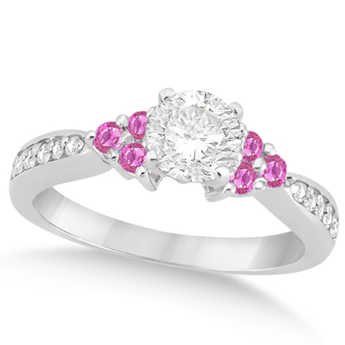 Floral Diamond & Pink Sapphire Engagement Ring 18k White Gold (0.80ct)