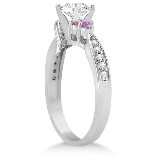 Floral Diamond & Pink Sapphire Engagement Ring Palladium (0.80ct)