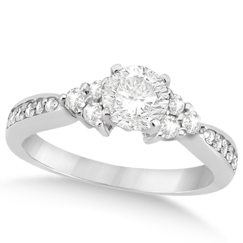 Floral Diamond Accented Engagement Ring in Platinum (0.78ct)
