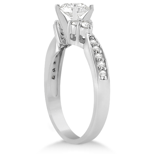 Diamond Floral Engagement Ring Setting 14k White Gold (0.28ct)