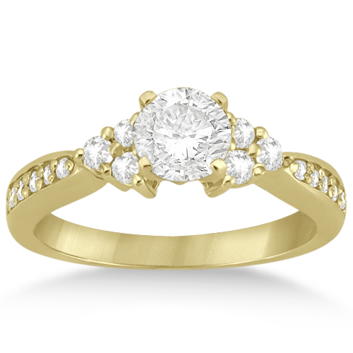Diamond Floral Engagement Ring Setting 18k Yellow Gold (0.28ct)
