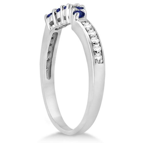 Floral Diamond & Blue Sapphire Bridal Set in 14k White Gold (1.00ct)