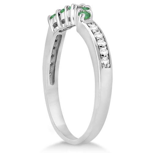 Floral Diamond & Emerald Bridal Set in 18k White Gold (1.06ct)