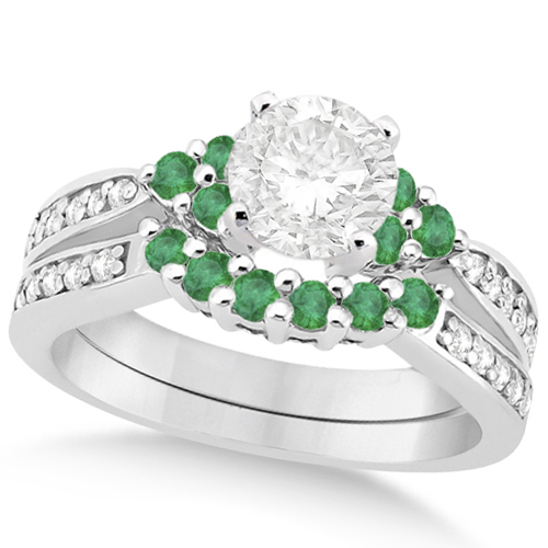 Floral Diamond & Emerald Bridal Set in Palladium (1.06ct)