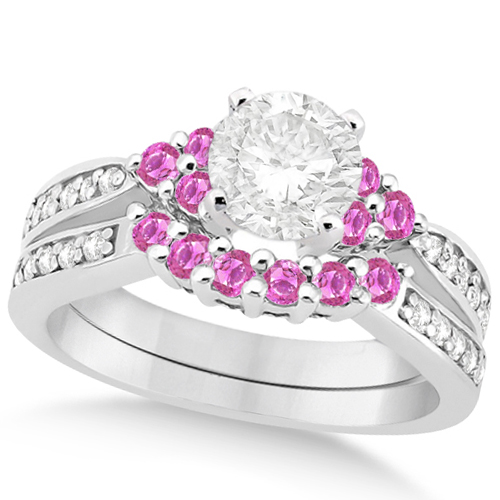 Floral Diamond & Pink Sapphire Bridal Set in 14k White Gold (1.00ct)