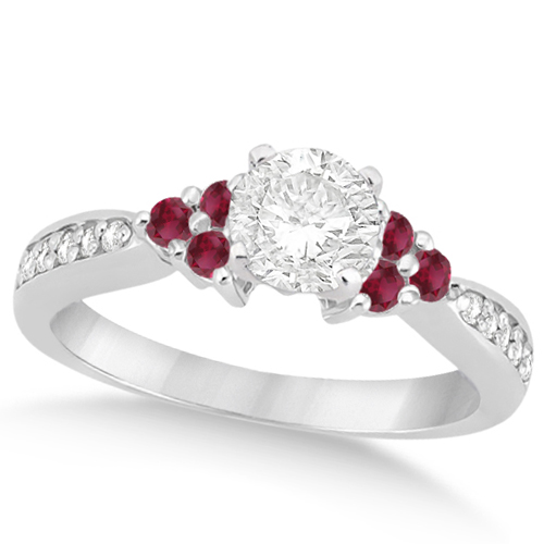 Floral Diamond & Ruby Engagement Ring & Band Palladium (1.00ct)