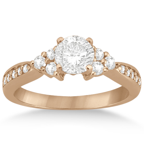 Floral Diamond Engagement Ring & Wedding Band 18k Rose Gold (0.56ct)