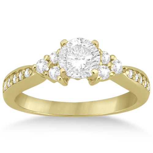 Floral Diamond Engagement Ring & Wedding Band 18k Yellow Gold (0.56ct)