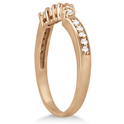 Floral Contour Band Diamond Wedding Ring 14k Rose Gold (0.28ct)