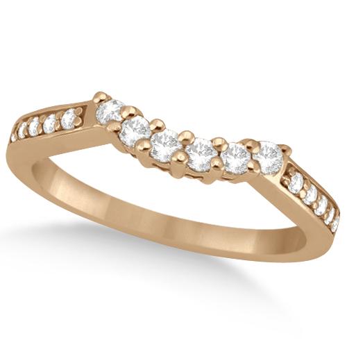 Floral Contour Band Diamond Wedding Ring 18k Rose Gold (0.28ct)