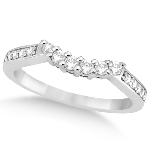 Floral Contour Band Diamond Wedding Ring 18k White Gold (0.28ct)