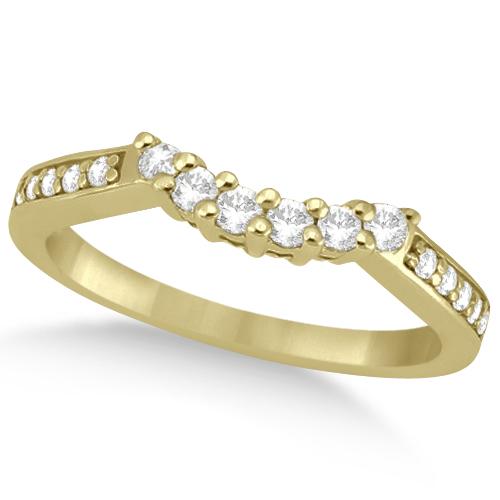 Floral Contour Band Diamond Wedding Ring 18k Yellow Gold (0.28ct)