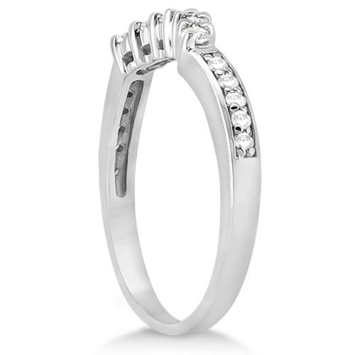 Floral Contour Band Diamond Wedding Ring Platinum (0.28ct)