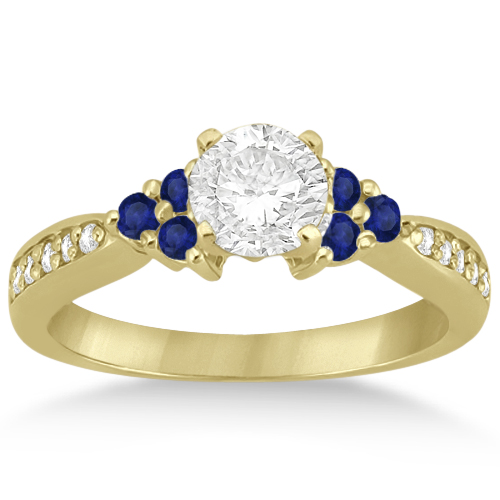 Floral Diamond and Sapphire Engagement Ring 14k Yellow Gold (0.30ct)