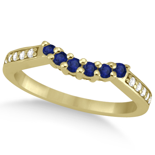 Floral Diamond and Sapphire Wedding Ring 14k Yellow Gold (0.30ct)