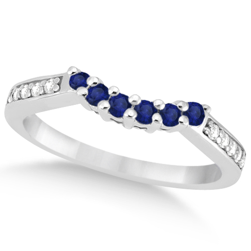 Floral Diamond and Sapphire Wedding Ring Palladium (0.30ct)