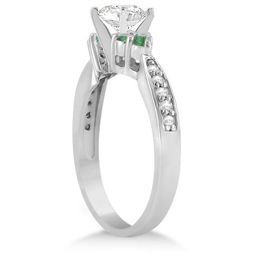 Floral Diamond and Emerald Engagement Ring 14k White Gold (0.28ct)