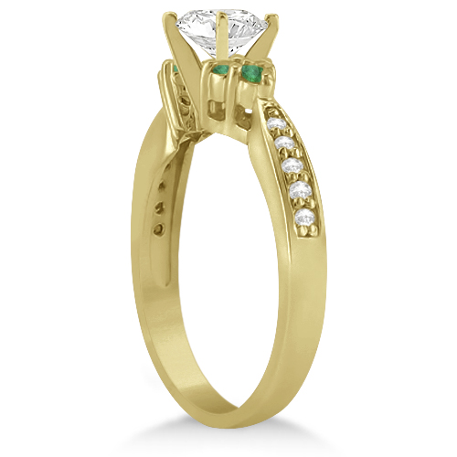 Floral Diamond and Emerald Engagement Ring 14k Yellow Gold (0.28ct)
