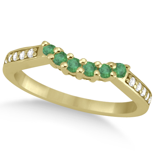 Floral Diamond and Emerald Engagement Ring & Band 14k Yellow Gold (0.56ct)