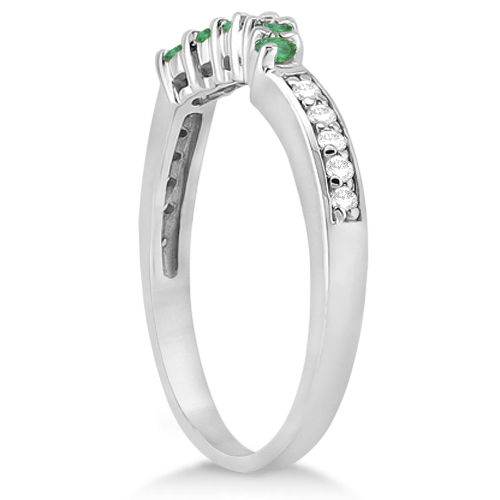 Floral Diamond and Emerald Wedding Ring 18k White Gold (0.28ct)