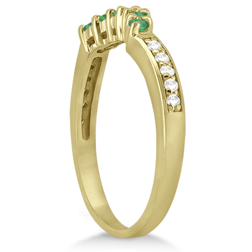 Floral Diamond and Emerald Wedding Ring 18k Yellow Gold (0.28ct)