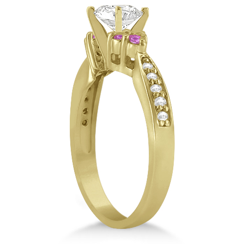Floral Diamond & Pink Sapphire Engagement Ring 14k Yellow Gold (0.30ct)