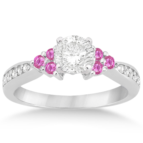 Floral Diamond & Pink Sapphire Engagement Ring 18k White Gold (0.30ct)
