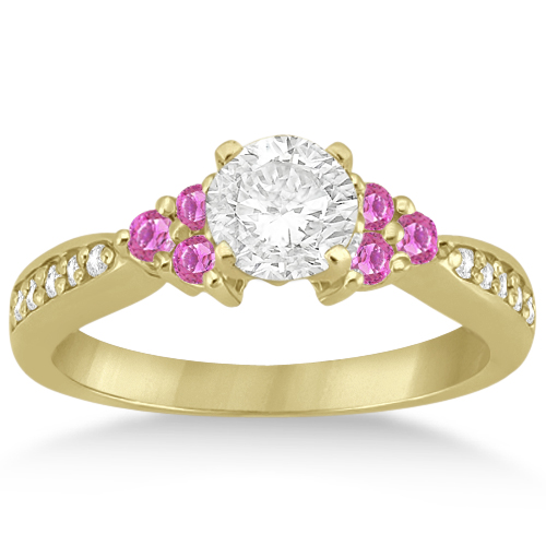 Floral Diamond & Pink Sapphire Engagement Ring 18k Yellow Gold (0.30ct)