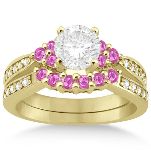 Floral Diamond & Pink Sapphire Engagement Set 14k Yellow Gold (0.60ct)