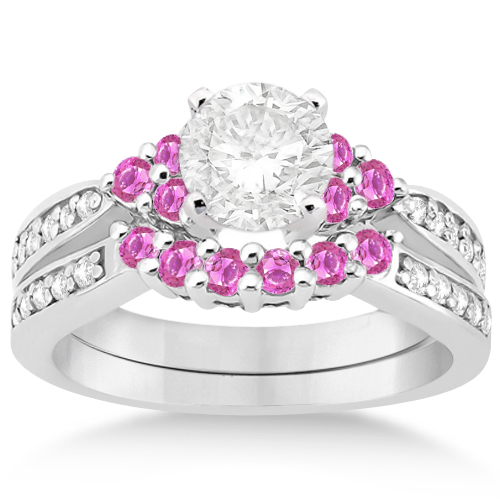 Floral Diamond & Pink Sapphire Engagement Set 18k White Gold (0.60ct)
