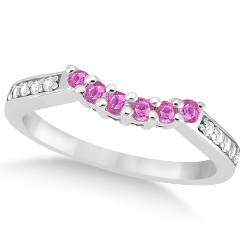 Floral Diamond & Pink Sapphire Wedding Ring 14k White Gold (0.30ct)