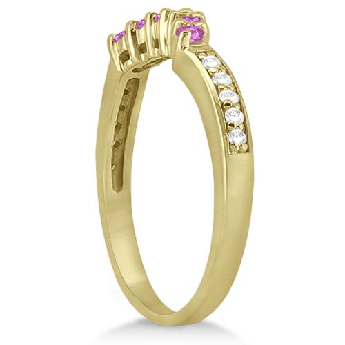 Floral Diamond & Pink Sapphire Wedding Ring 14k Yellow Gold (0.30ct)