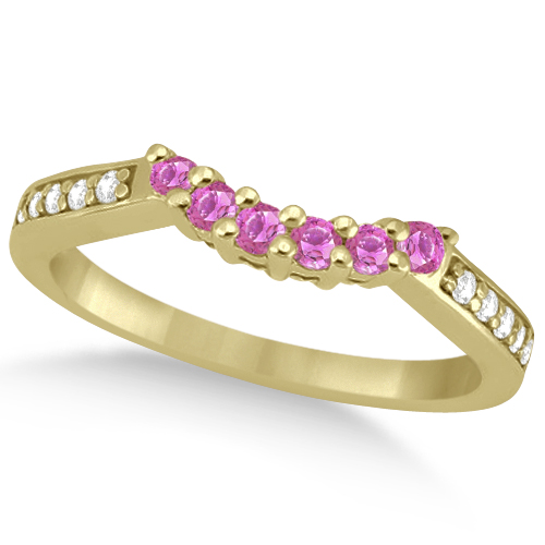Floral Diamond & Pink Sapphire Wedding Ring 18k Yellow Gold (0.30ct)